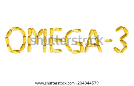 "Inscription: ""Omega-3"" on the mirror white background. Isolate on white - stock photo"