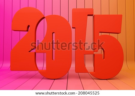 inscription 2015 on a striped red background - stock photo