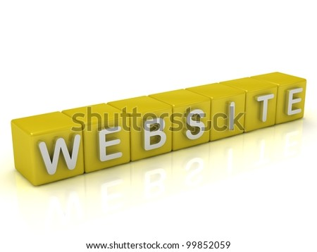 Inscription on the cubes of gold: website - stock photo