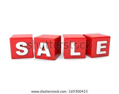 Inscription on the cubes of red,sale - stock photo