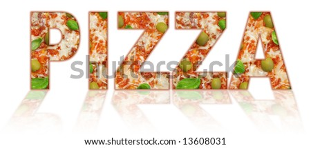 "inscription ""pizza"" isolated on white - stock photo"