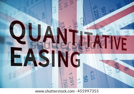 Inscription Quantitative easing and flag of United Kingdom over financial background.