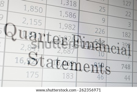 "Inscription ""Quarter Financial Statement"" on PC screen. Financial concept. - stock photo"