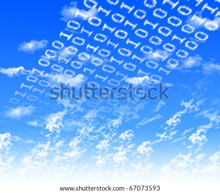 Inscriptions of zeros and ones of the clouds against the blue sky. The symbol of high technology. - stock photo