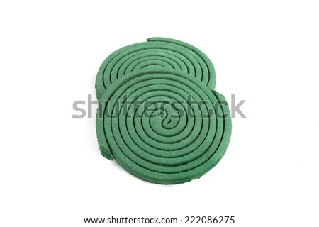 Insect repellant coil on white background - stock photo