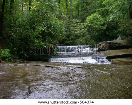 Insect View of Waterfall - stock photo