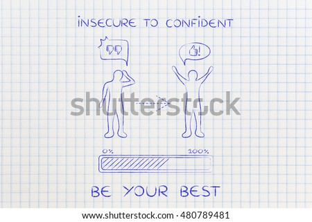 insecure to confident: person changing from a negative to a positive attitude with comic bubbles & progress bar loading