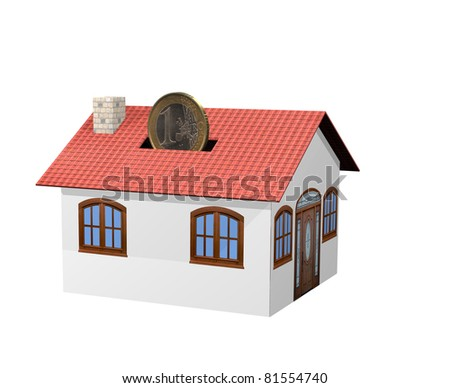 insert a euro coin in a moneybox house