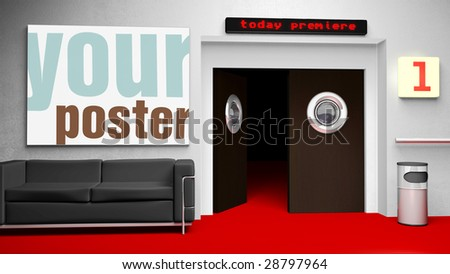 Insert your cinema poster in frame - the file includes clipping path - stock photo