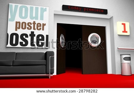 Insert your cinema poster in frame - the file includes clipping path