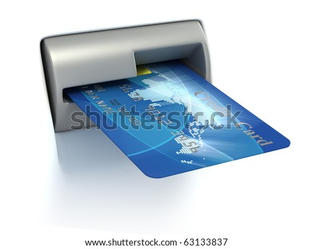 Inserting credit card into ATM - stock photo