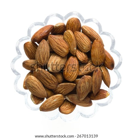 Inshell almonds isolated on white background, Top view food - stock photo