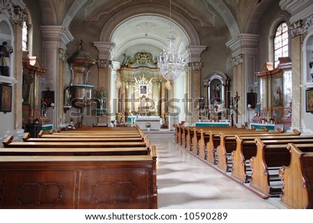 Inside a catholic church - stock photo
