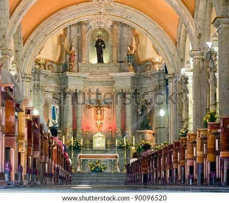 inside a Catholic Church - stock photo