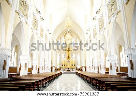 Inside A Catholic Church - Adjudeni -Romania - stock photo