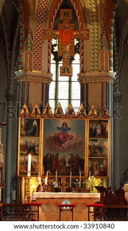 inside a catholic church in budapest, hungary - stock photo