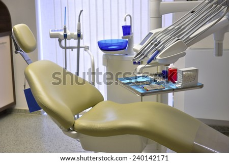 Inside a empty modern dentist ambulance prepared for patients - stock photo