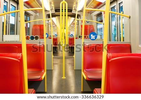 Inside a metro carriage in Vienna, Austria - stock photo