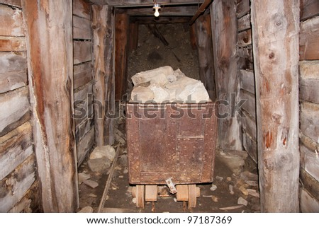 Inside a mine at the World Museum Of Mining, Butte, Montana - stock photo