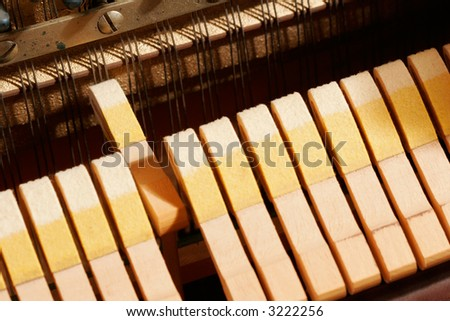 Inside a piano - One Hammer Striking the Strings.