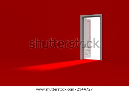 Inside a red room with opened door - stock photo