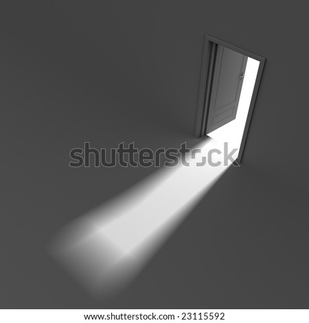 Inside a room with opened door. Light in the end of tunnel. Conceptual image - stock photo