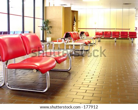 Inside a small airport in Labrador - stock photo