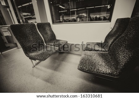 Inside a subway train. - stock photo