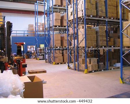 Inside a warehouse - stock photo