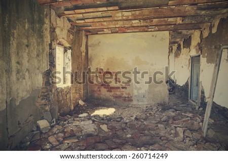 Inside abandoned house - stock photo