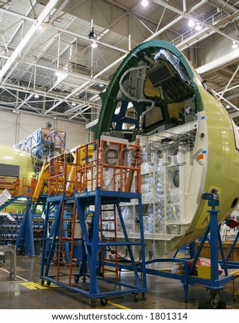 Inside Aerospace Manufacturing Plant - stock photo