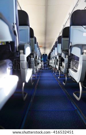 Inside airplane view - stock photo