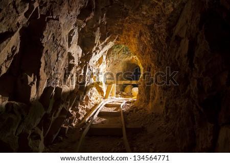 Inside an Abandoned Mine in the Nevada Desert - stock photo