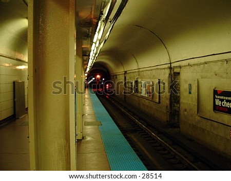 "inside an ""el"" station in Chicago - stock photo"