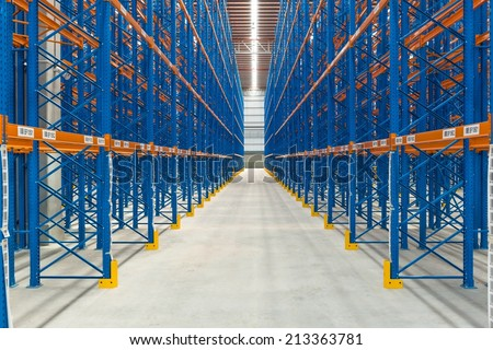 Inside an empty large generic warehouse with rack in place, taken in door