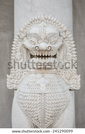 Inside and Detail of Wat Benchamabophit or Marble Temple in Bangkok, Thailand  - stock photo