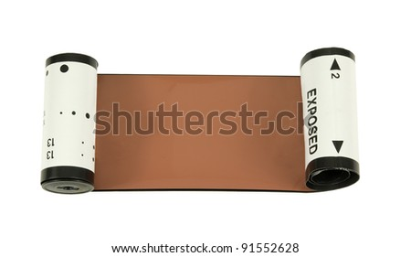 inside and outside view of 120 medium format film on a white background
