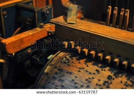 inside antique music box - stock photo