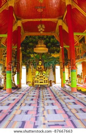 Inside Buddhism church,Wat Don Kaew,Sung Men district,Phrae,Thailand - stock photo