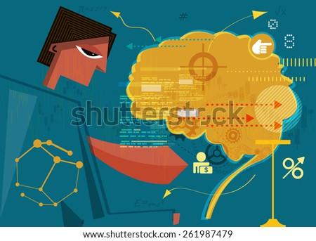 Inside Business Mind - Illustration - stock photo