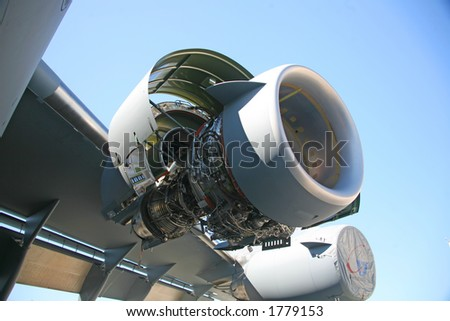 Inside C-17 Military Aircraft Engine - stock photo