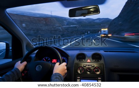 Inside car view at high speed and blurred accident - stock photo