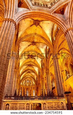 Inside Cathedral. Cathedral of the Holy Cross and Saint Eulalia. Barcelona.Spain
