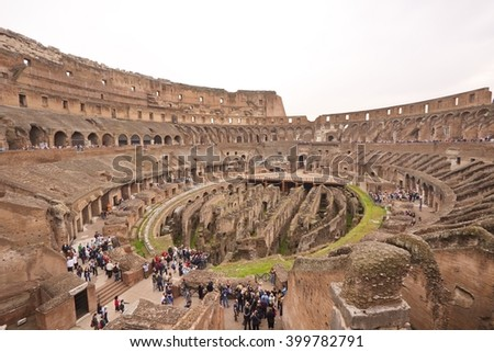 Inside Colosseum, Rome, Italy - stock photo