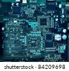 Inside computer, hardware motherboard components and circuits - stock photo