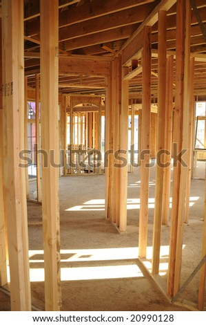 Inside construction of two level house - stock photo