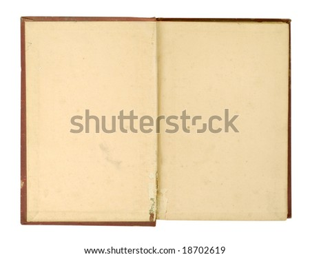 Inside cover of an old book, very worn and yellowed. - stock photo
