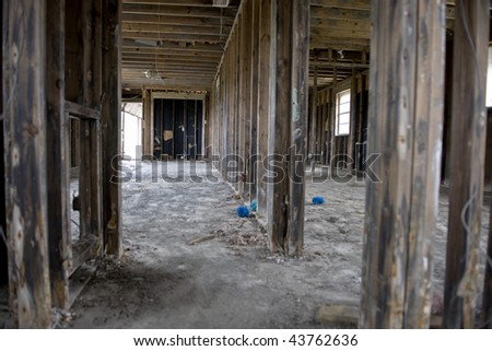 Inside destructed house after Hurricane Katrina, New Orleans, Louisiana - stock photo
