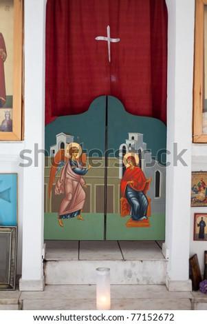 Inside detail of small Greek-orthodox stone chapel in Greece, Europe. - stock photo