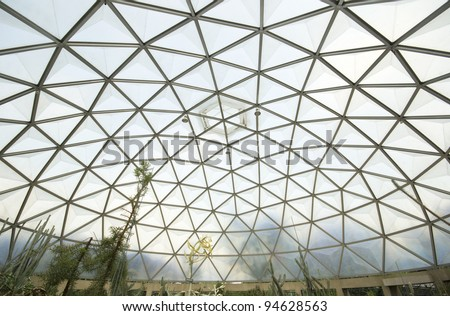 Inside geodesic dome - stock photo
